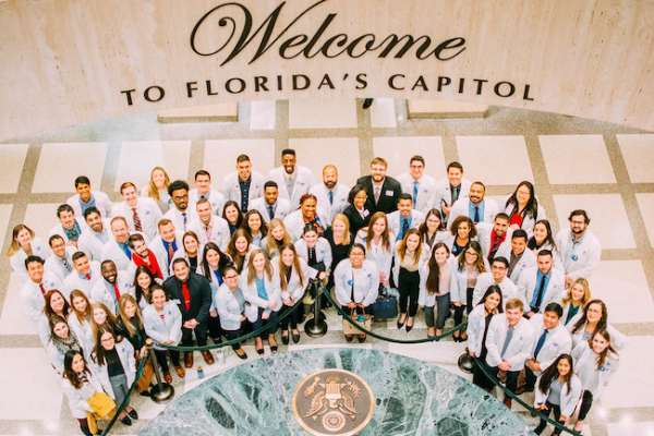 Student pharmacists pose for a photo at the Florida State Capitol