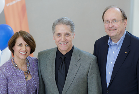 Julie Johnson, Pharm.D., dean and distinguished professor of the UF College of Pharmacy, Edmundo Muniz, M.D., Ph.D., Certara CEO, and Hartmut Derendor, Ph.D., distringuished professor and director of the Center for Pharmacometrics and Systems Pharmacology pictured