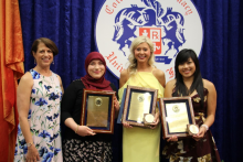 For the first time ever, three UF College of Pharmacy graduates earned perfect 4.0 GPAs. Pictured with Dean Julie Johnson are (l to r), Nora Bairagdar, Pharm.D., Kelsey Ohman, Pharm.D., and Dan-Tam Nguyen, Pharm.D. The three were presented the David W. Ramsaur Award, which is reserved for the student with the highest academic performance in the college.