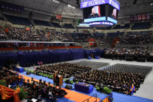 Kenneth L. Massey, Pharm.D., and UF pharmacy class of 1984 graduate, delivered the commencement address and received the 2018 UF College of Pharmacy Outstanding Pharmacy Alumnus Award.