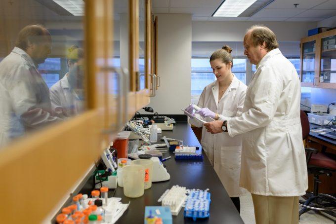Dr. Hartmut Derendorf, Professor of Pharmaceutics, with graduate student researcher Amelia Deitchman.