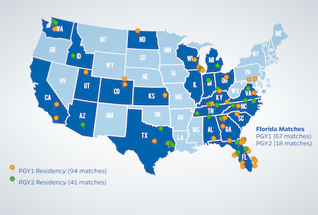 Map of residencies earned by UF Pharmacy graduates in 2019