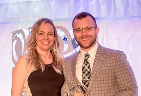 Josh Brown receives an award