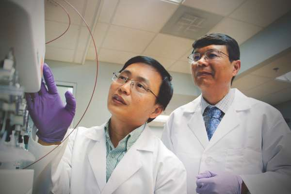 Guangrong Zheng, Ph.D., left, an associate professor of medicinal chemistry, and Daohong Zhou, M.D., right, a professor of pharmacodynamics and the Henry E. Innes Professor of Cancer Research at the UF Health Cancer Center, bring their complementary expertise together under the same roof at the University of Florida College of Pharmacy.