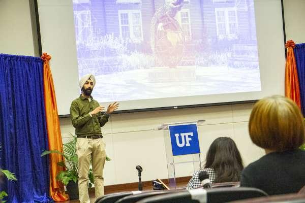 Arashdeep Singh, Ph.D., presents his oral talk at the 34th Annual Research Showcase