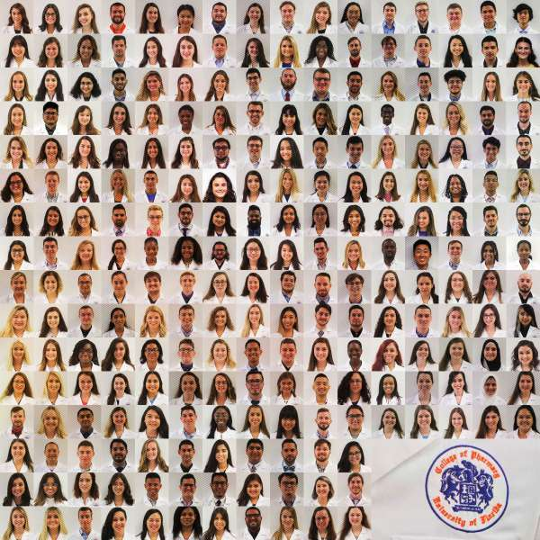 Headshots of 241 pharmacy students wearing white coats