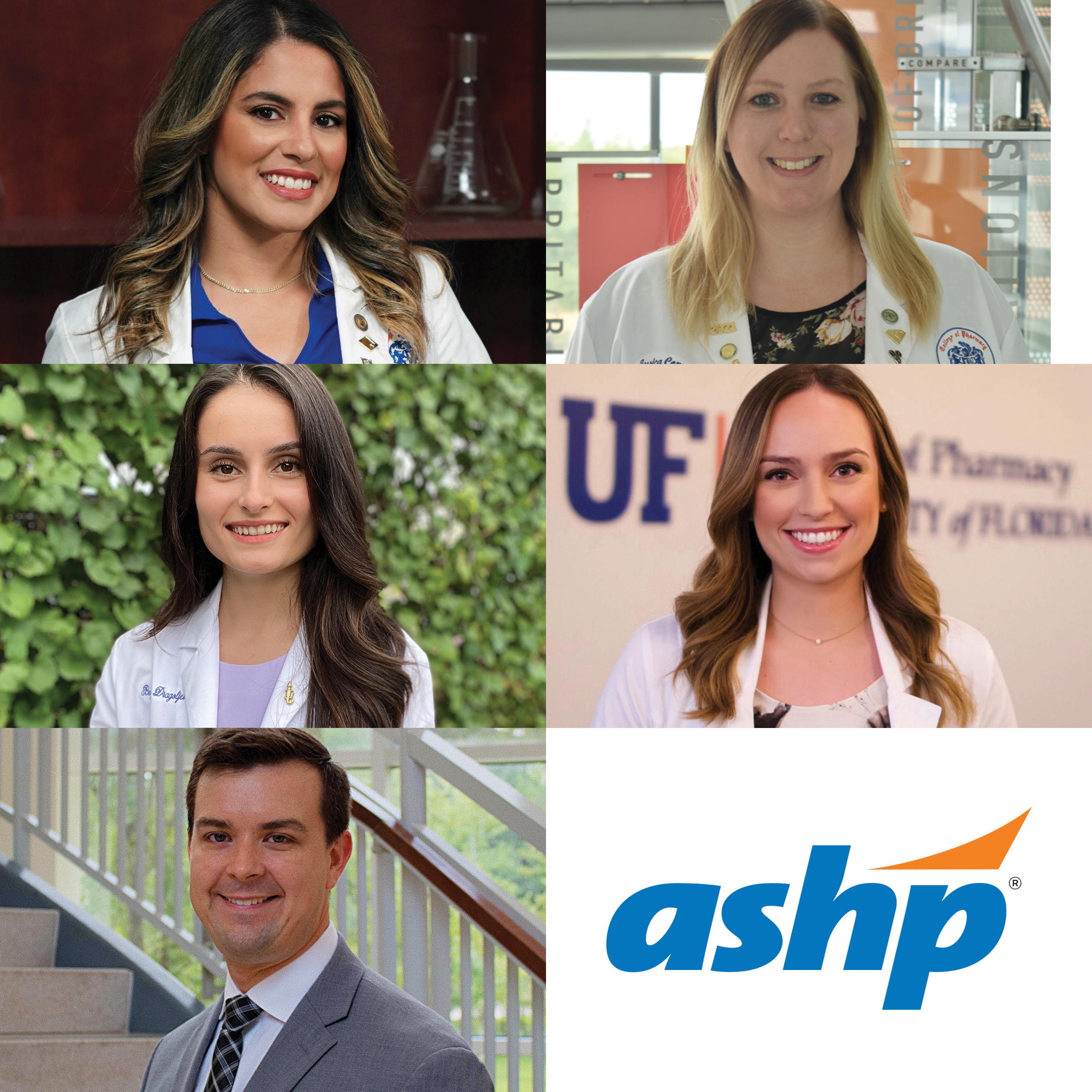Headshots of the five students chosen to be part of ASHP advisory groups