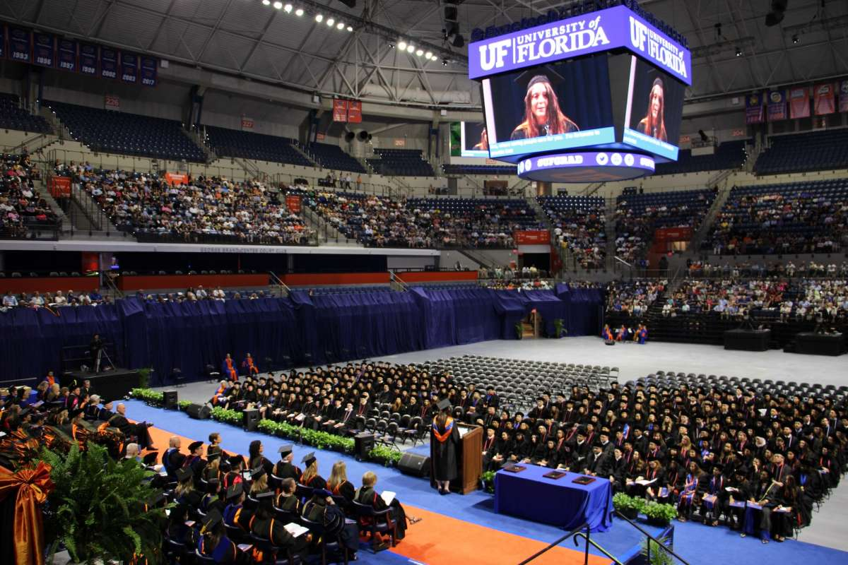 Wide shot of a commencement ceremony in the O'Connell Center